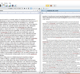 Screenshot of my Scrivener work screen with two documents open side-by-side and note panel